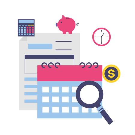 tax payment document calendar clock money magnifier vector illustration Imagens - 123429553