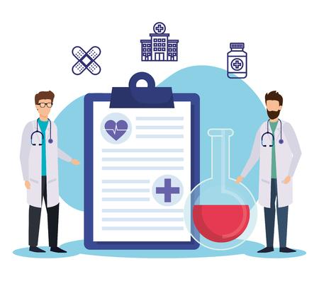 men doctors with check list and erlenmeyer flask vector illustration Imagens - 123429568