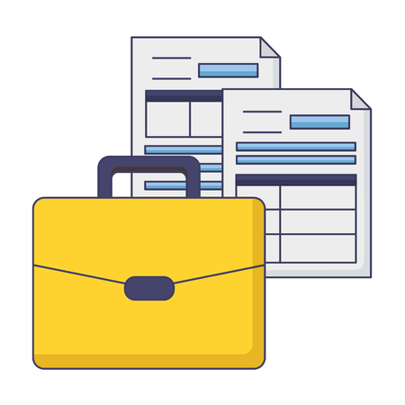 Koffer bildet Papiere Steuerzahlung Vector Illustration Design