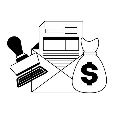 tax payment document mney bag invoice paid stamp vector illustration