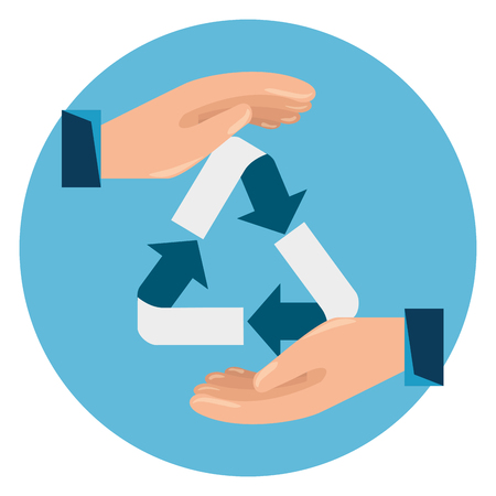 label with hands and ecology recycle sign vector illustration  イラスト・ベクター素材
