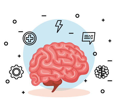 health brian with creative mind and intelligence vector illustration