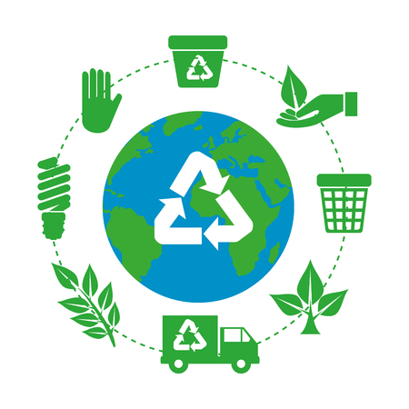 earth planet with recycle arrows and ecology icons vector illustration design Illustration