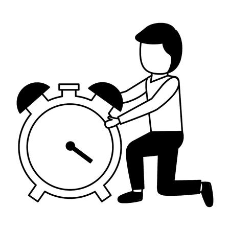 businessmen clock time on white background Ilustração