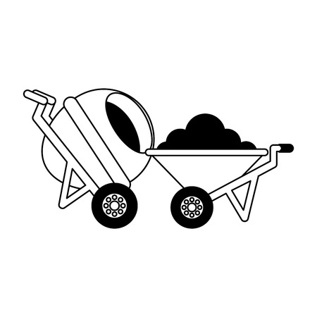 construction wheelbarrow concrete mixer equipment vector illustration  イラスト・ベクター素材