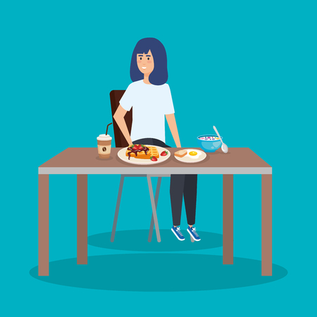 casual woman eating waffles and fried egg vector illustration