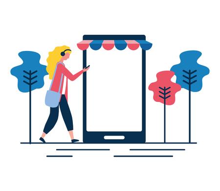 woman online shopping cellphone app vector illustration 일러스트