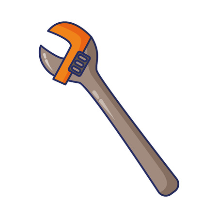wrench adjustable tool on white background vector illustration