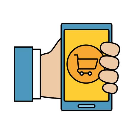 hand using smarphone with shopping cart vector illustration design Vettoriali