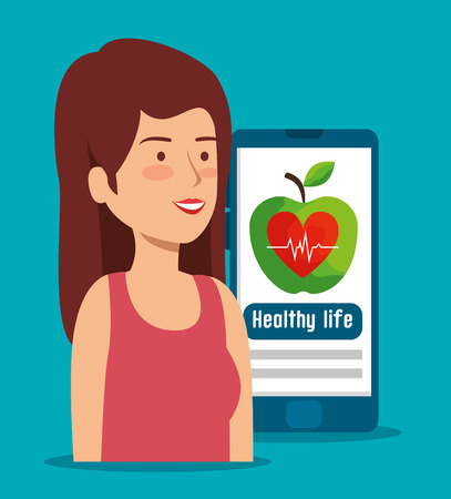 woman with smartphone and health lifestyle to heartbeat vector illustration
