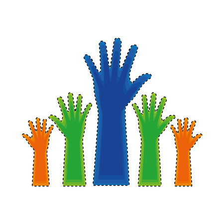 hands human up isolated icon vector illustration design Çizim