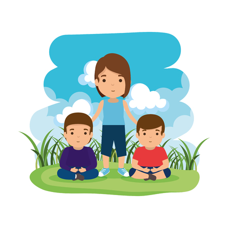 mother with sons in the camp vector illustration design Illustration