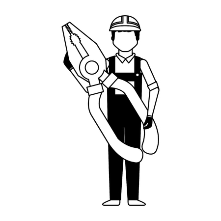 worker man with pliers tool vector illustration 向量圖像