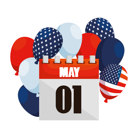 balloons helium with USA flag and may 1 calendar vector illustration design