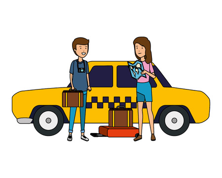 tourist couple with suitcases in taxi characters vector illustration design Standard-Bild - 123429778
