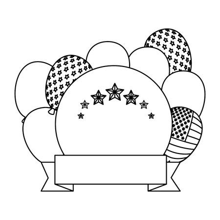 Globos de helio con bandera de EE.UU., diseño de ilustraciones vectoriales de bastidor circular Ilustración de vector
