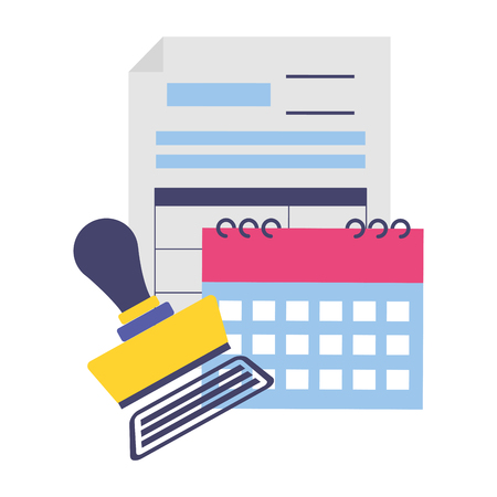 tax payment document calendar invoice paid stamp vector illustration Ilustrace