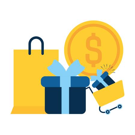 online shopping gift bag money vector illustration