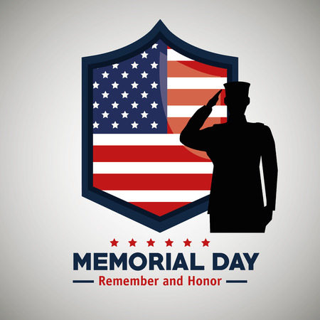 emblem usa flag and soldier to memorial day vector illustration