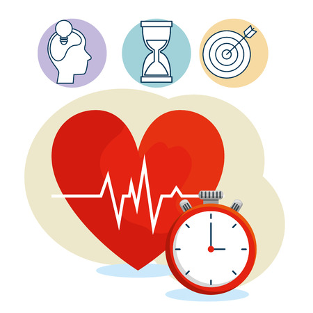 heartbeat with chronometer to lifestyle balance exercise vector illustration 向量圖像