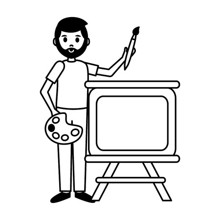 teacher man artistic board and palette teachers day vector illustration  イラスト・ベクター素材