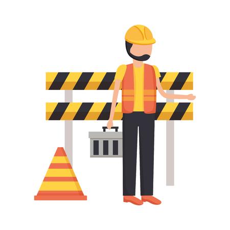 worker toolbox barricade tool construction vector illustration Illustration