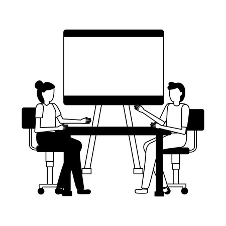 business people desk office board blank vector illustration