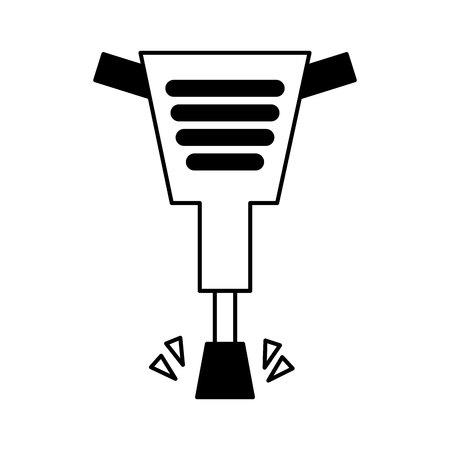 Diseño de ilustración de vector de icono aislado de herramienta de martillo neumático Ilustración de vector