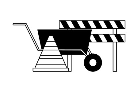 barricade wheelbarrow traffic cone tool construction vector illustration Illustration