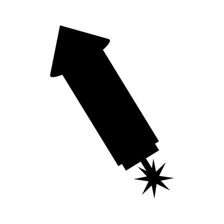 Diseño de ilustración de vector de icono de cohete de fuegos artificiales aislados