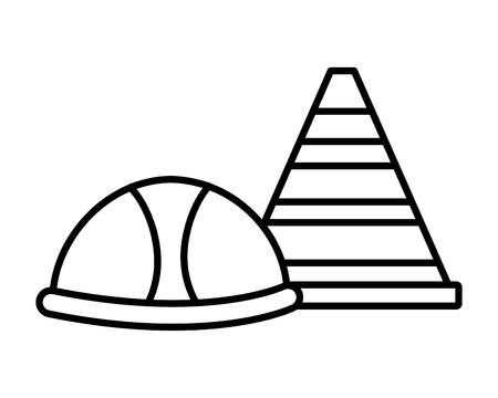 helmet and traffic cone tool construction equipment vector illustration Foto de archivo - 123388477