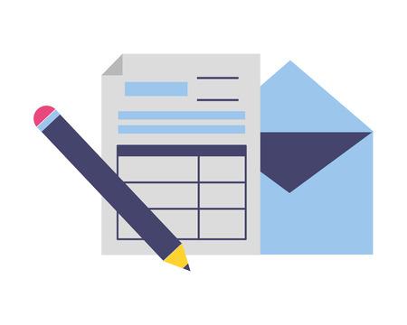 form pencil envelope tax time payment vector illustration