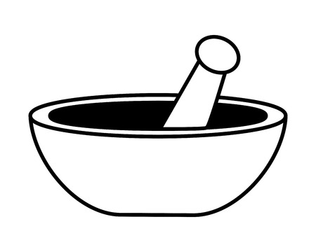 mortar and pestle icon on white background vector illustration design