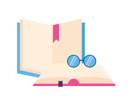 open books with glasses icon vector illustration design  イラスト・ベクター素材