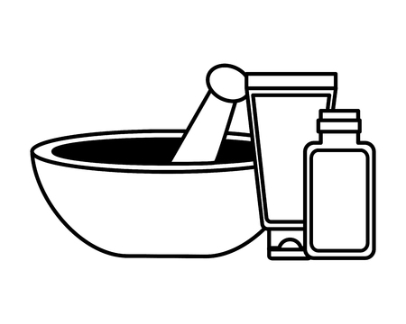 bowl essential oil cosmetics spa treatment therapy vector illustration