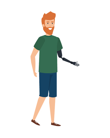man with arm prosthesis character vector illustration design