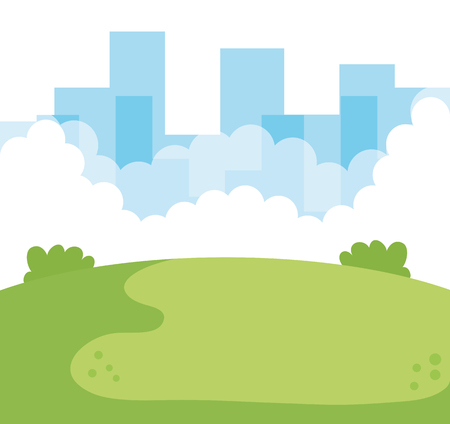 park with cityscape background vector illustration design Illustration