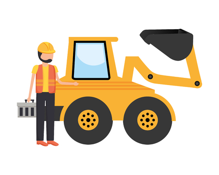 worker construction toolbox and bulldozer vector illustration Stock Vector - 123390050