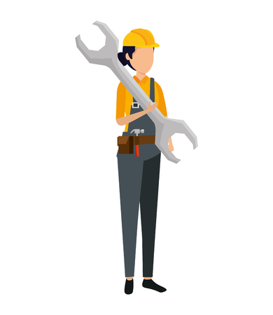female builder worker with helmet and wrench vector illustration design