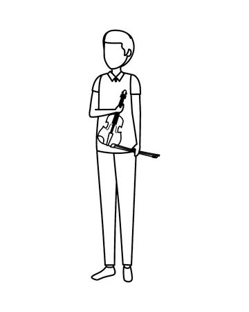 professional violinist avatar character vector illustration design 向量圖像