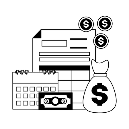 tax payment document calendar money bag vector illustration Illustration