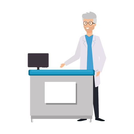 professional doctor in the office character vector illustration design