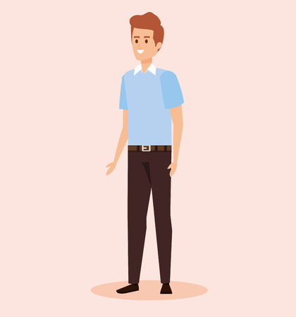 happy man wearing shirt and pant with hairstyle vector illustration Illustration