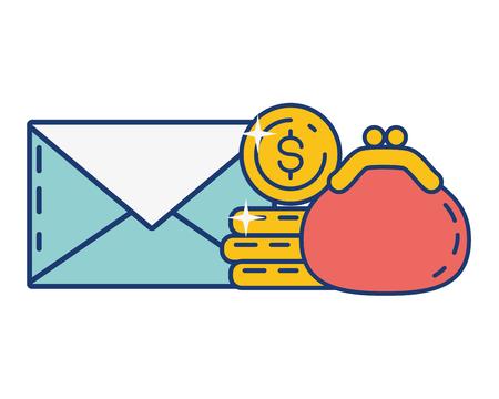 Monedas de correo monedero pago en línea ilustración vectorial