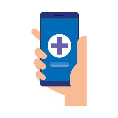 hand using smartphone with medical cross telemedicine vector illustration design