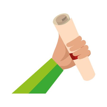 hand lifting graduation certificate roll vector illustration design