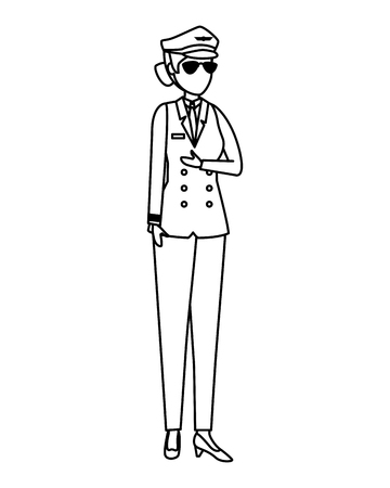 female aviation pilot avatar character vector illustration design Banque d'images - 123390255