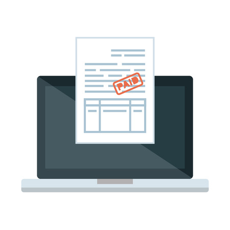 laptop computer with tax documents vector illustration design Çizim