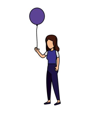 woman with balloons helium floating vector illustration design Vektoros illusztráció
