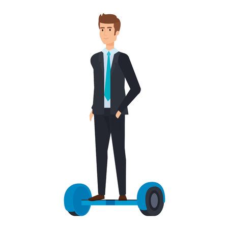businessman in hoverboard electric vector illustration design